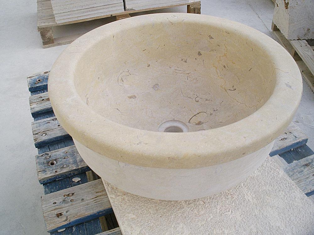 pila cóncava de piedra crema cenia (pilas de piedra)