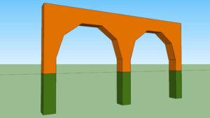 el arco poligonal tiene caras rectas en el intradós